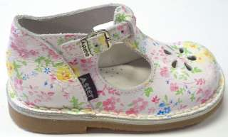 New Aster Bimbo Girls T Strap, White With Floral Print, Made in France