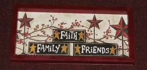 PRIMITIVE COUNTRY FAMILY FAITH FRIENDS FRAMED WALL DECO