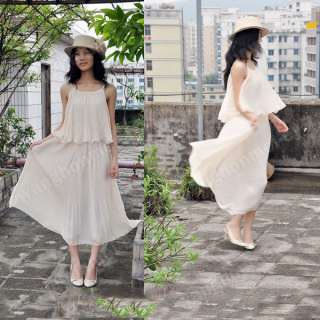 Korea Womens Boho Sexy Ruffle Pleated Chiffon Elegant Maxi Long Dress