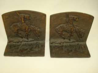 END OF THE TRAIL BRONZED METAL BOOKENDS