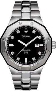 Bulova 98D103 Mens Stainless Steel Marine Star Black Dial 8 Diamond