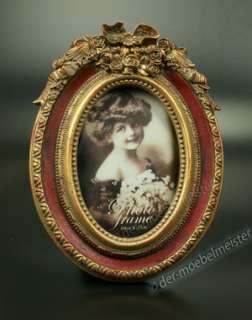 Fotorahmen Bild Oval Rahmen Rot Gold Holz Deko Antik Stil Louis XVI