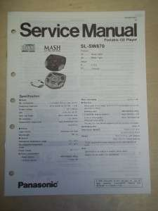 Panasonic Service Manual~SL SW870 Shock Wave CD Player~Original |