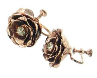 VINTAGE CORO STERLING ROSE GOLD RIBBON PIN & EARRINGS
