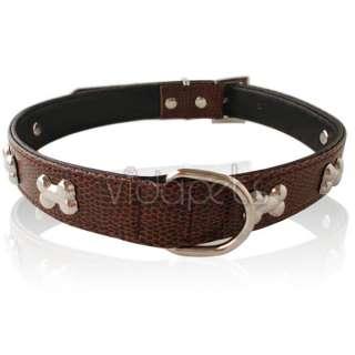 16 20 Brown Leather Bones Dog Collar Medium Large