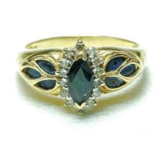 Vintage 14k yellow Gold Sapphire & Diamond ladies Cocktail ring band