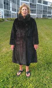 REAL MINK FUR COAT FULL LENGTH RICH RANCH MAHOGANY
