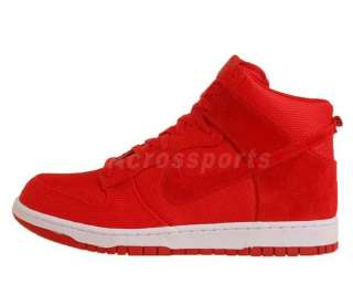 Nike Dunk High Premium Sport Red Suede 2011 Mens Classic Casual Shoes