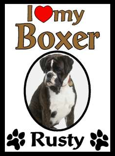 Love My Boxer Dog Personalized Kitchen Magnet Gift   2 Styles