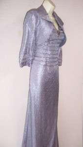KM COLLECTIONS Silver Gray Mother of Bride Formal Gown Dress & Bolero
