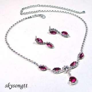 Swarovski Pink Crystal Rhinestone Necklace Set S1294P