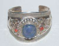 Antique Arts & Crafts Lapis Coral Metal Cuff Bracelet