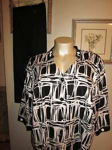 MAGGIE BARNES BLACK AND WHITE TWO PIECE CAPRI PANT SUIT SIZE 4X/5X OR