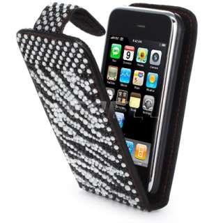 BLACK ZEBRA LEATHER BLING FLIP CASE FOR IPHONE 3G 3GS