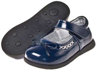 Girls Kids Toddler Childrens Leather Shoes Navy Blue