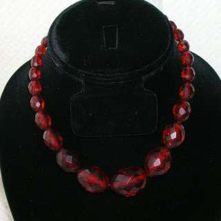 Antique Vintage Sterling Faceted Cherry Amber Bakelite Bead Necklace