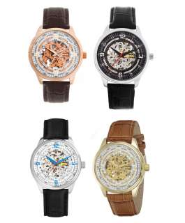 XXIV Mens Saturnos Automatic Skeleton Dial Leather Watch