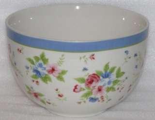 Martha Stewart china Roses & Blue flowers Soup Bowl HTF