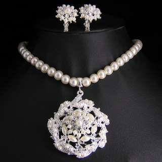 Wedding Bridal pearl &crystal necklace earring set S302
