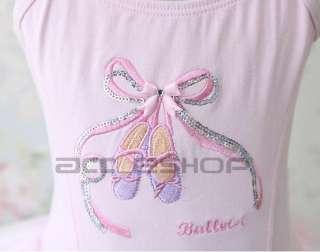 Pink Party Dance Ballet Leotard Fairy Costume Tutu Girls Dress Long