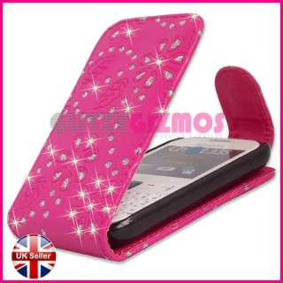 LEATHER FLIP POUCH CASE FOR SAMSUNG CHAT CH@T 335 S3350