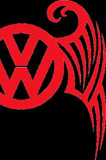 Fiery RED uNiQuE TRIBAL VW Emblem Decal Sticker Kombi!