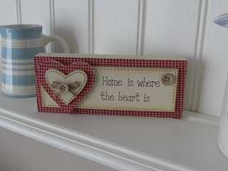SHABBY COUNTRY GINGHAM HEART PLAQUE LOVE / HOME CHIC
