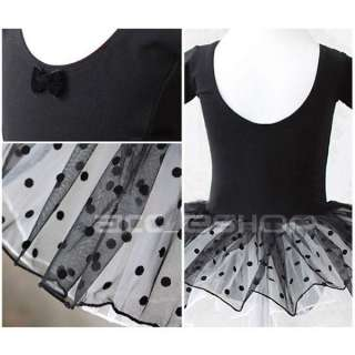 Girls Black Dance Party Leotard Ballet Costume Tutu Fairy Skirt Dress