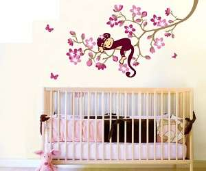 VINYL Pink Flower and Monkey Wall Stickers  Top Quality |