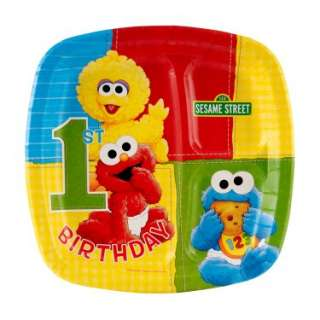 Costumes Sesame Street 1st Birthday Pocket Dinner Plates (8 count