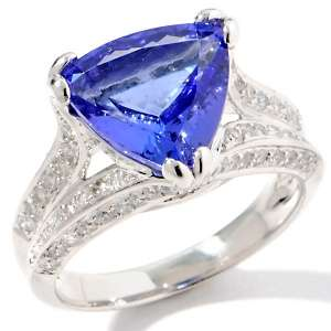 Kind 4.99ct Trillion Cut Tanzanite and Diamond 14K White Gold Ring