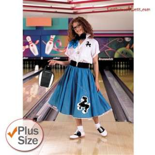 Complete Poodle Skirt Outfit Plus (Turquoise & White) Adult Costume