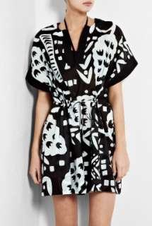 Diane von Furstenberg  Tan Black and Pale Blue Printed Kaftan by