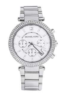 Michael Kors Watches  Silver and Glitz Chronograph Watch by Michael