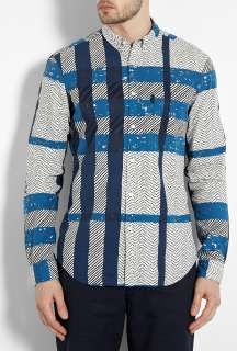 Burberry Brit  Blue Batik Check Print Shirt by Burberry Brit