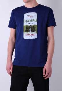 Navy Kurt Cobain Olympia Beer T Shirt by Worn Free   Navy   Buy T