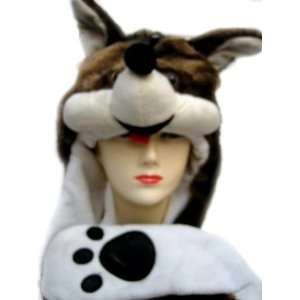 Plush Fox Animal Hat   Fox Hat with Ear Flaps and Hand