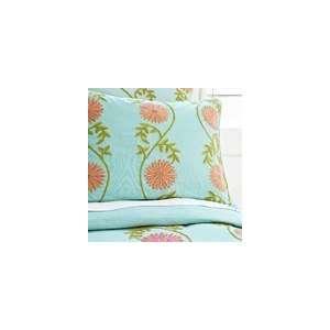 Crewel Bedding Sunflower Vine Aqua Cotton Duck Duvet Cover