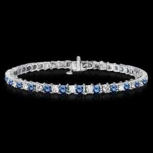 carat white & blue diamonds tennis bracelet gold
