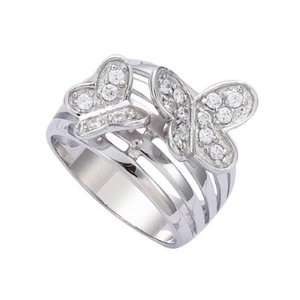 Silver Clear Cubic Zirconia 2 Butterflies Band Ring   Size 7 Jewelry
