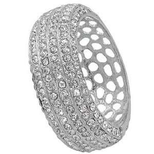 Silvertone Clear Crystal Bangle Bracelet Fashion Jewelry Jewelry