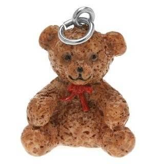 Cream Plush Teddy Bear Bejeweled Keychain Purse Charm 5.5