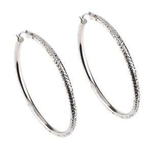14KT White Gold Large Diamond Cut Hoop Earrings Jewelry
