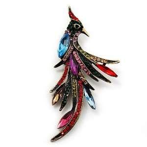 Multicoloured Crystal Fire Bird Brooch (Antique Gold Tone Metal