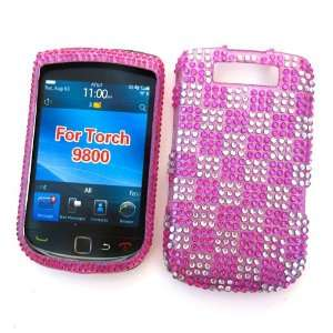 Rhinestone Cover Pink & Silver Checkers Design Cell Phones