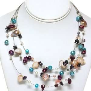 White Blue and Brown Multi Color Freshwater Pearl Necklace Jewelry