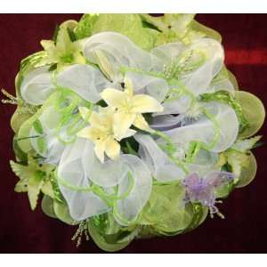 Spring Wreath for Front Door 24 Inch Lime Green W/lilies Butterfly