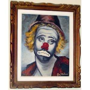 Original OIL Painting Sad Clown By Canadian Guy Beland: