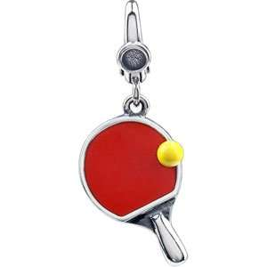 Silver 19.00X12.00 MM Ping Pong Paddle And Ball Charm Jewelry