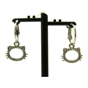 Hello Kitty Outline Heads Charm Hoop Earrings with